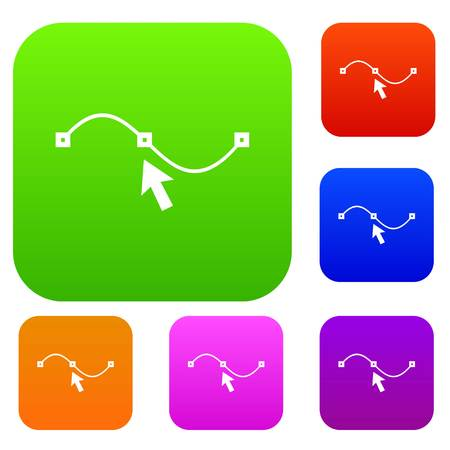Drawing the curve set icon in different colors isolated vector illustration. Premium collection