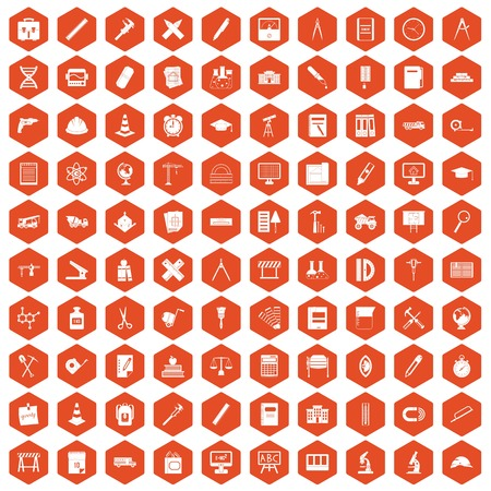 100 compass icons set in orange hexagon isolated vector illustration Illustration