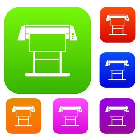 Large format inkjet printer set icon in different colors isolated vector illustration. Premium collection Illustration