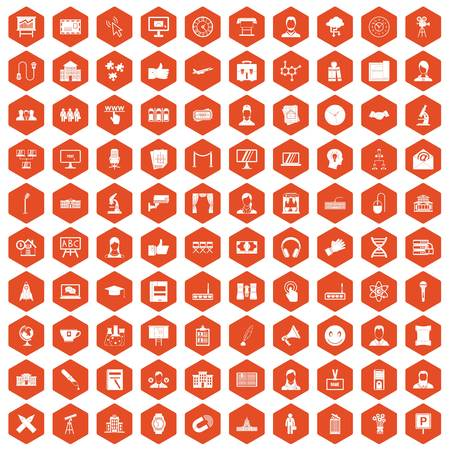 office building: 100 conference icons set in orange hexagon isolated vector illustration Illustration