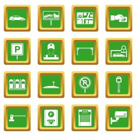 Parcheggio auto impostare icone in colore verde illustrazione vettoriale isolato per web e qualsiasi design