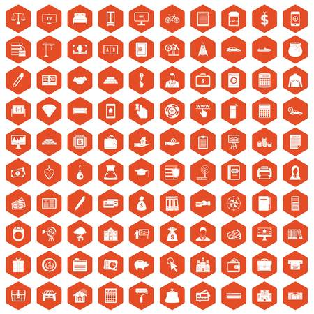 100 credit icons set in orange hexagon isolated vector illustration Illustration