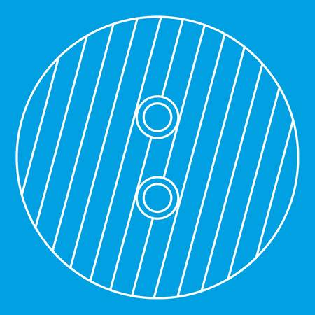Button with stripes icon blue outline style isolated vector illustration. Thin line sign Illustration