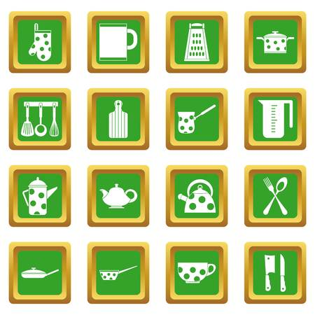 Kitchen tools and utensils icons set in green color isolated vector illustration for web and any design Illustration