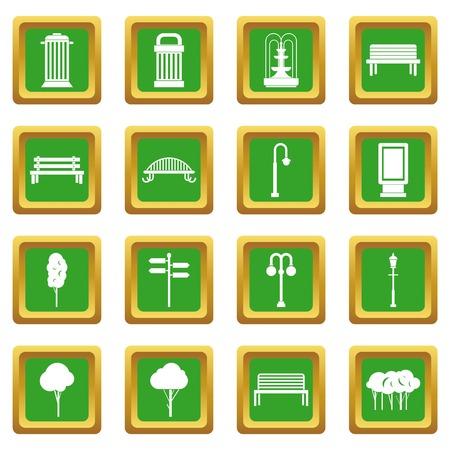 warehouse building: Hangar icons set in green color isolated vector illustration for web and any design Illustration