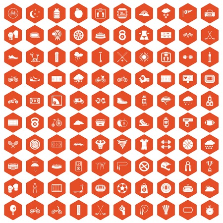 bicycle pump: 100 cycling icons set in orange hexagon isolated vector illustration