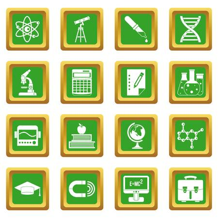 Education icons set in green color isolated vector illustration for web and any design Illustration