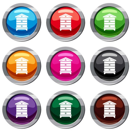 Hive set icon isolated on white. 9 icon collection vector illustration