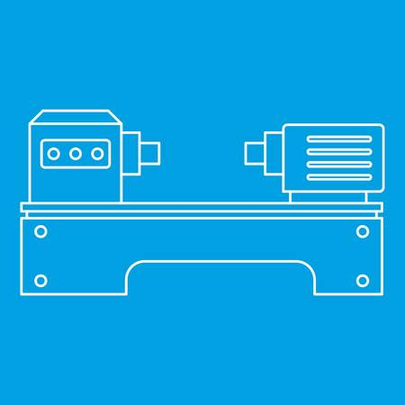 Lathe machine icon blue outline style isolated vector illustration. Thin line sign Illustration
