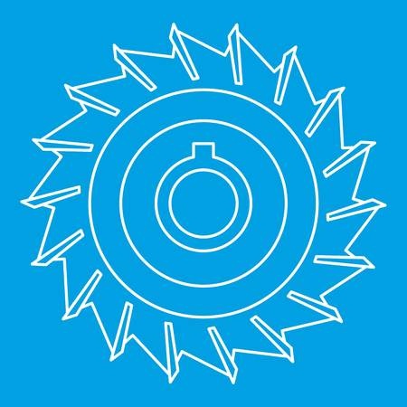 Circular saw disk icon blue outline style isolated vector illustration. Thin line sign
