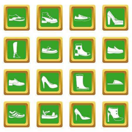loafer: Shoe icons set in green color isolated vector illustration for web and any design Illustration