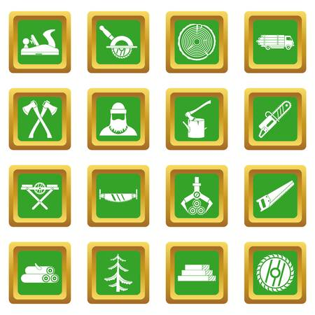 logging: Timber industry icons set in green color isolated vector illustration for web and any design Illustration