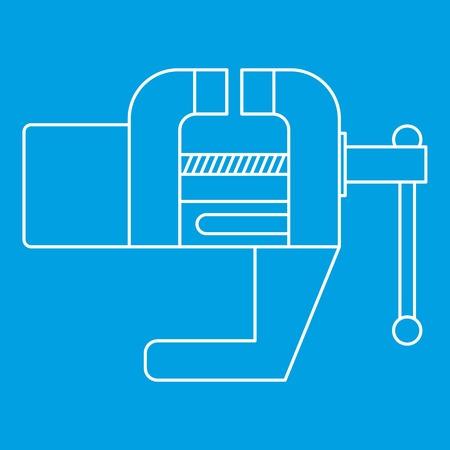 Ícone da ferramenta Vise Estilo do esboço azul Ilustração vetorial isolada. Sinal de linha fina