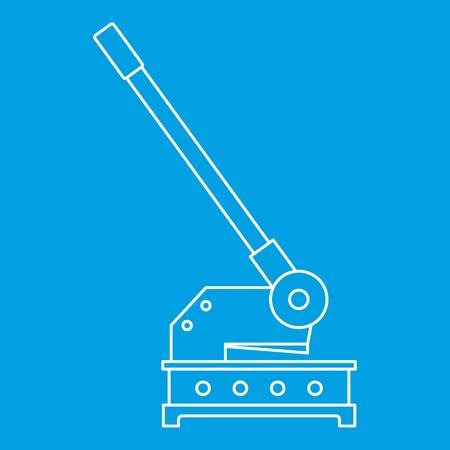 machining: Cutting machine icon blue outline style isolated vector illustration. Thin line sign Illustration