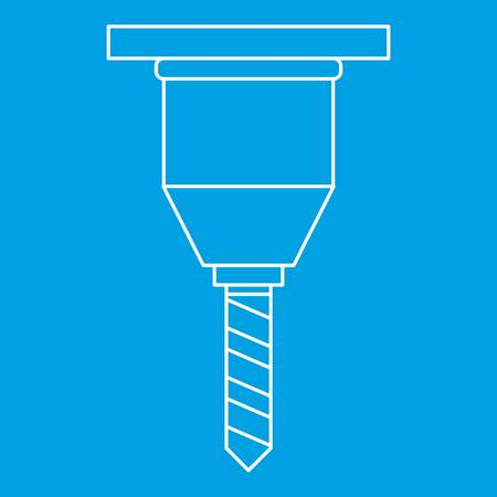 hole: Drill bit icon blue outline style isolated vector illustration. Thin line sign