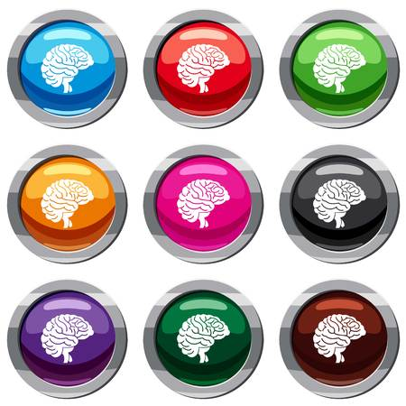 Brain set icon isolated on white. 9 icon collection vector illustration