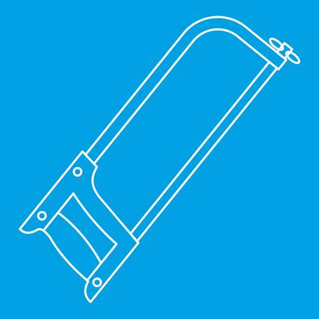 steel industry: Hacksaw icon blue outline style isolated vector illustration. Thin line sign