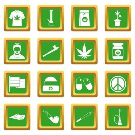 Rastafarian icons set in green color isolated vector illustration for web and any design