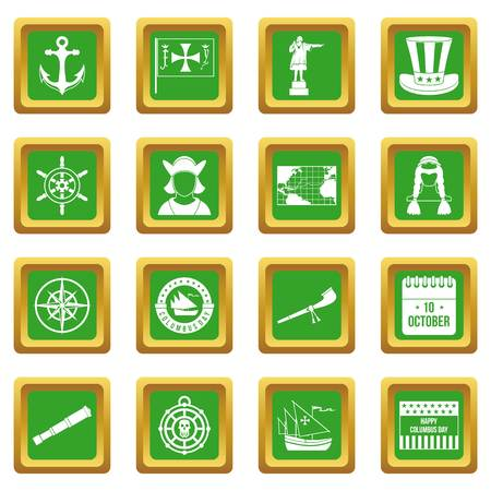 calendar icon: Columbus Day icons set in green color isolated vector illustration for web and any design