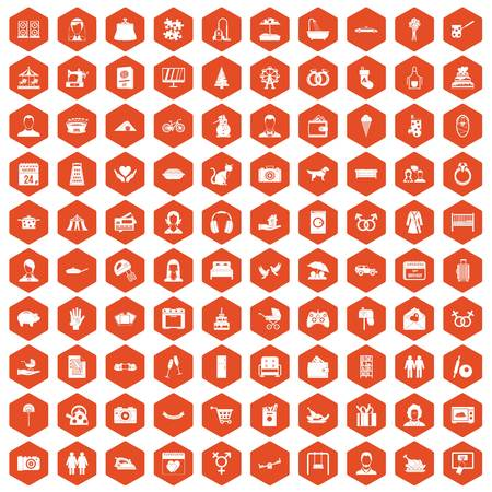 100 family icons set in orange hexagon isolated vector illustration