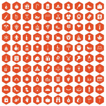 calendar icon: 100 family tradition icons set in orange hexagon isolated vector illustration