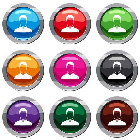 preacher: Priest set icon isolated on white. 9 icon collection vector illustration Illustration