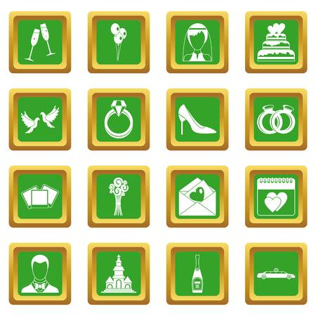 wedding couple: Wedding icons set in green color isolated vector illustration for web and any design