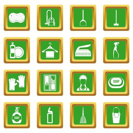 hangers: House cleaning icons set in green color isolated vector illustration for web and any design