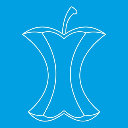 Apple stump icon blue outline style isolated vector illustration. Thin line sign