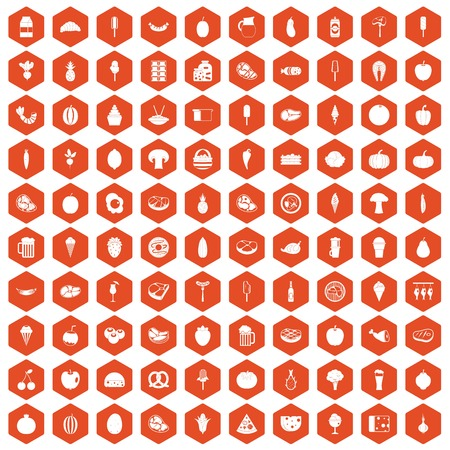 100 food icons set in orange hexagon isolated vector illustration Çizim