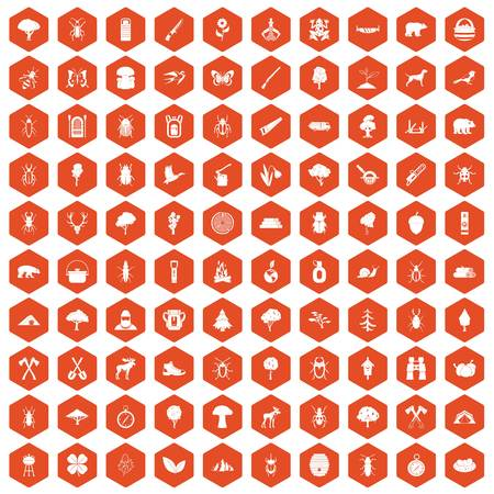 100 forest icons set in orange hexagon isolated vector illustration
