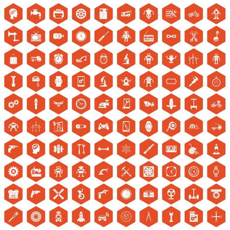 meat grinder: 100 gear icons set in orange hexagon isolated vector illustration
