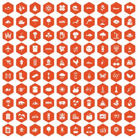 hole: 100 global warming icons set in orange hexagon isolated vector illustration Illustration