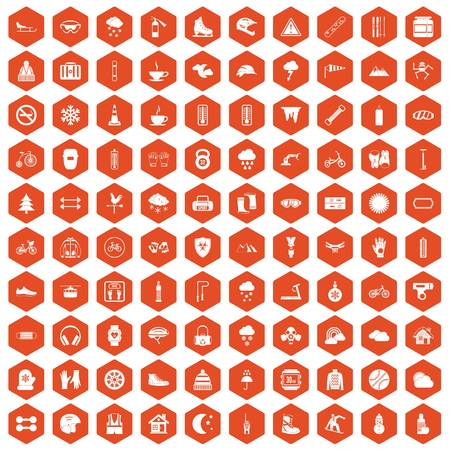 case: 100 glove icons set in orange hexagon isolated vector illustration Illustration