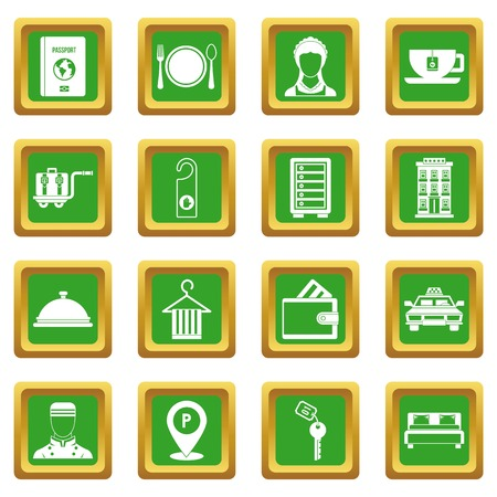 Hotel icons set in green color isolated vector illustration for web and any design