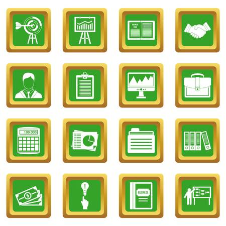 calendar icon: Business plan icons set in green color isolated vector illustration for web and any design Illustration