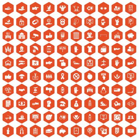 100 hand icons set in orange hexagon isolated vector illustration Illustration