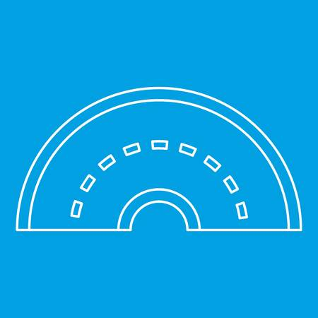 speedway: Round turning road icon blue outline style isolated vector illustration. Thin line sign