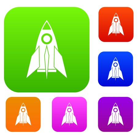 Rocket set icon in different colors isolated vector illustration. Premium collection