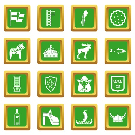 Sweden travel icons set in green color isolated vector illustration for web and any design Illustration