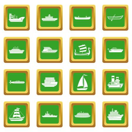 Sea transport icons set in green color isolated vector illustration for web and any design