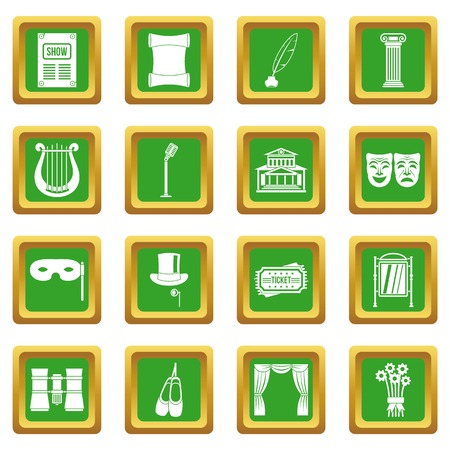 Theater icons set in green color isolated vector illustration for web and any design