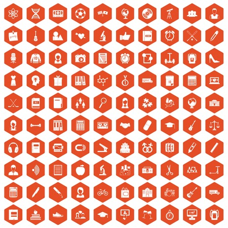 simple girl: 100 hi-school icons set in orange hexagon isolated vector illustration