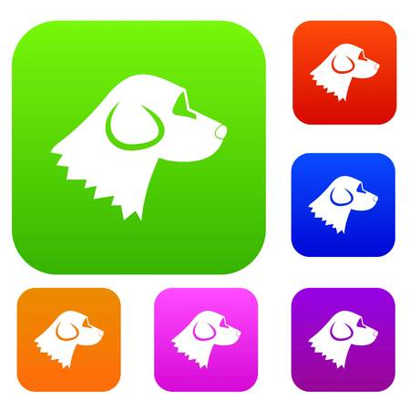 Beagle dog set icon in different colors isolated vector illustration. Premium collection Illustration