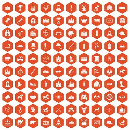 100 horsemanship icons set in orange hexagon isolated vector illustration