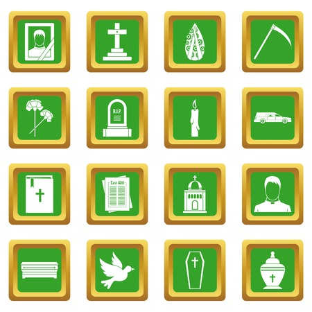Funeral icons set in green color isolated vector illustration for web and any design Illustration