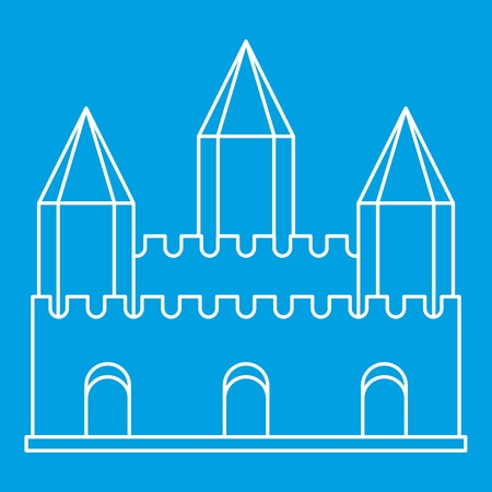 Ancient fort with towers icon blue outline style isolated vector illustration. Thin line sign Illustration
