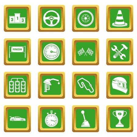 racing sign: Racing speed icons set in green color isolated vector illustration for web and any design
