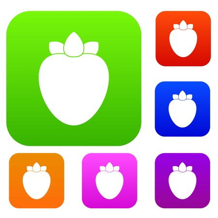 Ripe persimmon set icon in different colors isolated vector illustration. Premium collection Illustration