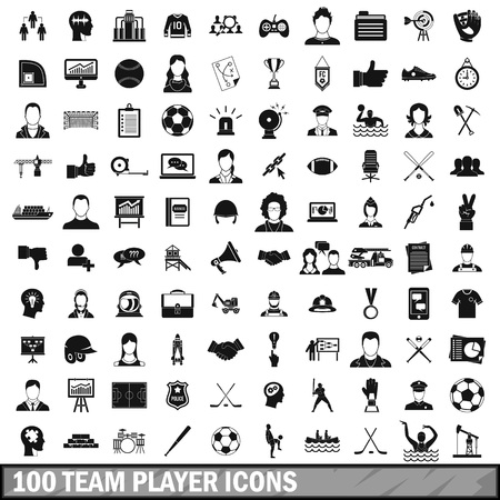 woman laptop: 100 team player icons set in simple style for any design vector illustration